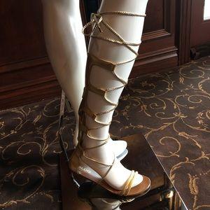 Aldo gold leather gladiator sandals